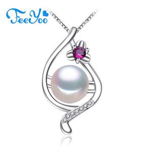 FEEYOO Genuine jóia colar de pérolas Mulheres Party For Natural Pearl Pendant personalizado Cubic Zirconia Colar Gargantilha