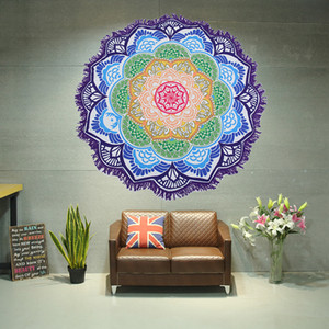 다각형 인쇄 술 라운드 비치 타월 마이크로 화이버 만다라 비치 담요 다채로운 로터스 요가 매트 피크닉 테이블 천 7 BH2214 CY 디자인