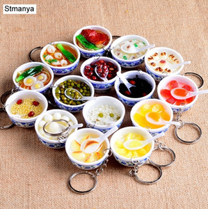New Simulation Food Key Chains noodle New Keychain Chinese Blue and white porcelain Food Bowl Mini bag pendant