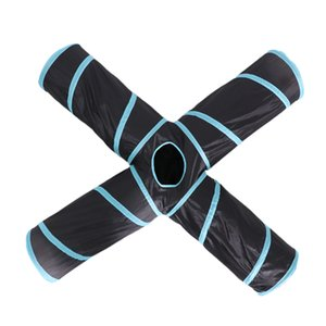 Cat Tunnel, Upgraded Collapsible 4 Way Crinkle Cat Toy Tube with 2 Suspended Ball Toys for Puppy, Cats, Dogs, Rabbits, Indoor Outdoor Use
