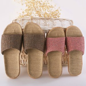 Women Slippers Ladies Flax Casual Slides 6 Colors Summer Linen Belt Female Sandals Flip Flops Lovers Indoor Floor Shoes