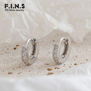 F.I.N.S 925 Sterling Silver Малый обруч серьги для женщин серебро 925 Женщина серьги Cubic ювелирные изделия Цирконий Earings моды