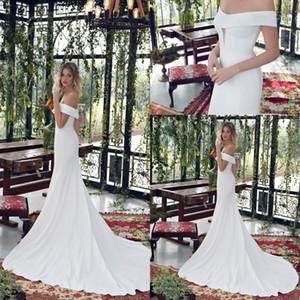 2020 Limor Rosen Mermaid Wedding Dresses Satin Off Shoulder Short Sleeve Simply Style Bridal Gowns Backless Sweep Train Wedding Dress