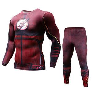 Red Flash Running Set Men New Compression Trajes deportivos para hombres Conjuntos de running de secado rápido Joggers Traje de entrenamiento Chándales de gimnasio