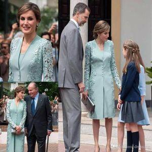 Урожай Mint Green Lace Stain Матери невесты платья с курткой оболочки свадебное платье для гостей колен Вечерние вечерние платья