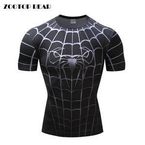 Black 3D Print T Shirt Men Compression Fitness Tshirt gym tights Costume Short Sleeve Bodybuilding T Shirts