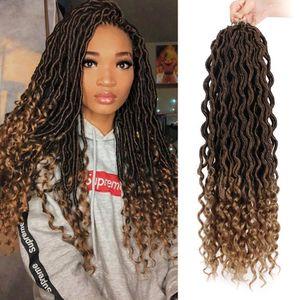 Жарко! Богиня Locs крючком плетенки 18 дюймов мягкий природный Kanekalon Синтетические волосы 24 Удлинитель стойки / обновления Goddess Faux Locks волос для женщин