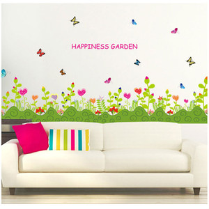Sıcak Satış Yeni Çiçekler Çim Duvar Kağıdı Kelebek Dans Çıkartması Oturma Odası Yatak Odası Duvar Çıkartmaları Kağıt Çıkarılabilir Ev Dekorasyon