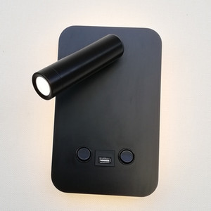 Topoch interior luminarias pared USB cargador 5V 2A Dual conmutada retroiluminación 6W con Independiente de Trabajo de lectura de luz LED 3W Blanco / Negro