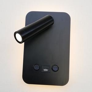 Topoch Indoor Wall Lights USB Charger 5V 2A dupla Switched Backlight 6W com luz de leitura 3W LED independentes que trabalham Branco / Preto