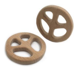 3pcs Legno biscotto Teether anello fai da te organico ecologico giocattolo animale Unfinished Natura tettarella Rattle dentizione Grasping