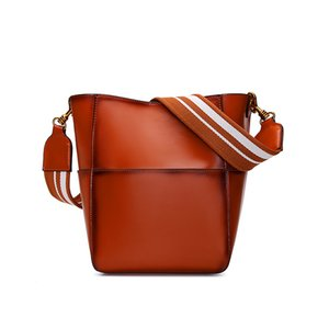 Beach Bag Woman Cowhide Single Shoulder Bucket Width Straps Diagonal Package handbags New Fashion For women bags