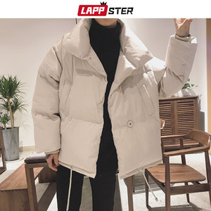 LAPPSTER Homens Cores Bolha Brasão jaqueta de inverno 2019 Mens Sólidos Harajuku coreana Parka Windbreaker Casal soprador jaqueta grossa