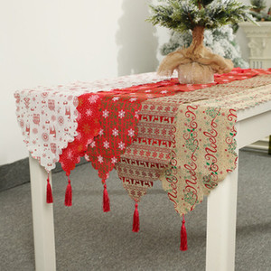 Christmas Decoration Linen Printed Table Flag Table Runner Printed Tassel Tablecloth Placemat Hotel Home Festival Decoration EEA653