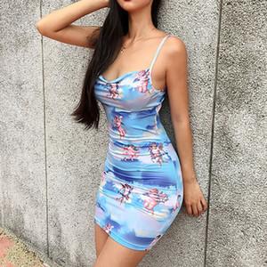 Sexy Bodycon mangas Mini vestido Ângulo de Venda Hot Fashion Trend Mulheres Imprimir Evening Party Club Slim bainha Chic New Dress