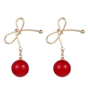Nueva venta caliente coreana simple y encantadora cereza perla cuelga los pendientes de gota para las mujeres aretes joyería de moda 2019 Brincos Oorbellen
