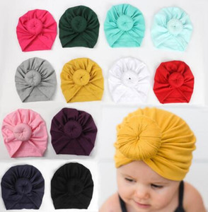 8 colors Cute Infant Toddler Unisex Ball Knot Indian Turban Kids Spring Autumn Caps Baby Donut Hat Solid Color Cotton Hairband MZ04
