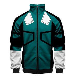 Мужские пальто Anime My Hero Academia Printed Воротник Zip Jacket с длинным рукавом Повседневная Role Playing Class