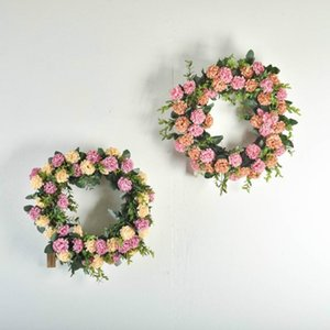 Cilected Ins Wedding Hydrangea Wreath Decoration Nordic Home Interior Rattan Simulation Flower Wall Hanging Wreath Door Hanging