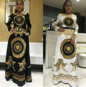 2019 Moda Afrika Sıcak Stilleri Kadın Elbise Uzun Elbise Baskı Gevşek Kemer Grace Gündelik Elbise Bayan Bahar Giyim HL39