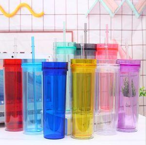 6styles 16oz colorati bicchieri di plastica per acqua potabile buratti acrilici chiari trasparenti tazze doppie bottiglia d'acqua con paglia 480ML FFA4137