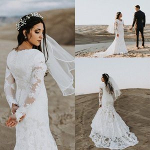 Elegant Lace Mermaid Wedding Dresses V-Neck Applique Fitted Long Sleeve Winter Tulle African Bridal Gowns Train Custom Plus Size Bride Dress