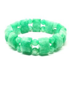الطبيعية الخضراء اليشم الأحجار الكريمة بسط سوار الأزياء مزاجه مجوهرات الجواهر اكسسوارات هدايا بالجملة