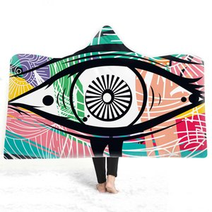 Color Eye Print Hooded Blanket Senior Art Blanket with Hat Double Thicken Warm Plush Blankets Watercolor Magic Cloak
