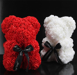 Creative Hand made Flower bear Doll 25 cm rose flower doll Valentine's Day Birthday Party gift Artificial Rose bear T9I00229