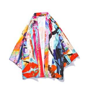 Women Doodling Print Japan Style Kimono Cardigan Blouses Robes Tops 2020 Spring Summer Fashion Unisex Couple Casual Long Kimono Blouse Shirt
