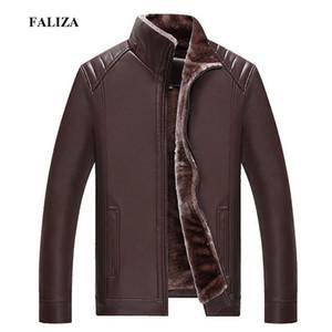 FALIZA Inverno Giacca in pelle di pelliccia Mens Coats Marca di alta qualità PU Capispalla Uomo Affari Faux Fur Giacca maschile Fleece 4XL JK141