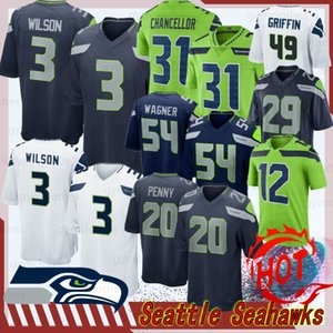 Seahawk 3 Russell Wilson Seattle Jersey 20 Rashaad Penny 12e Fan Jersey 31 Kam Chancellor 49 Shaquem Griffin New Jersey Football