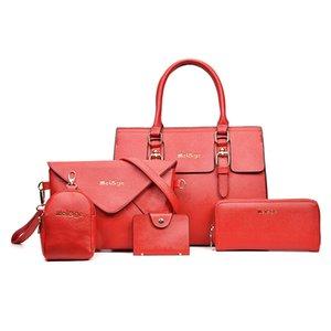 Las nuevas mujeres de los bolsos de mano Conjunto 5 piezas compuesto bolsa de cuero de la PU señoras de la manera solo hombro Messenger Bag # 20202