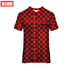 WAMNI Lattice Short Sleeve Tee esecuzione maglietta Corse Sport Wear falso Shirt High Street allentato V-Neck poliestere Tshirt