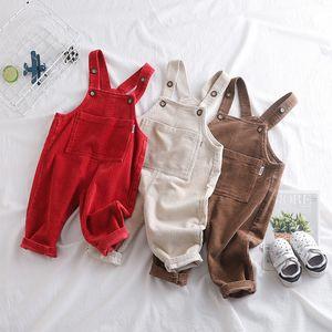 Kids Overalls Casual Corduroy High Quality Jumpsuit For Girls Kids Pants Korean Big Pocket Newborn Baby Jumpsuits Boy Girl Pants Y200704