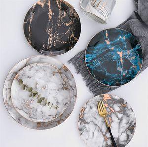 Assiettes en marbre Assiettes en céramique Assiette à dessert en porcelaine incrustée d'or Assiette à dessert Bifteck Salade Assiettes à gâteaux Vaisselle Vaisselle Vaisselle