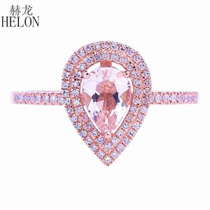 Helon Solid 14k Rose Gold Two Halos Diamanti naturali Fidanzamento Fidanzamento 5x7mm Pera Morganite Anello Fine Jewelry Donna J 190430
