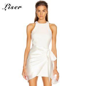 Liser 2020 neue Sommer-Frauen-Kleid-O Ansatz drapierte Mini Bandag-Kleid reizvolle BodyCon eleganter Verein Promi Party Kleider Vestidos