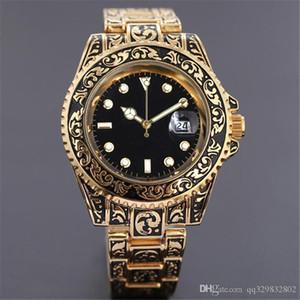 Reloj 험 브레 럭셔리의 새로운 브랜드 레트로 손목 시계 남성 해골 손목 시계 캐주얼 드레스 디자이너 남성 시계 자동 데이 데이트 골드 팔찌 시계