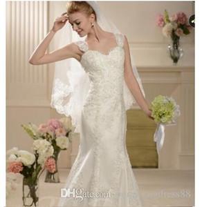 Sweetheart Straps Trumpet Mermaid Chapel Train Lace Wedding Dress