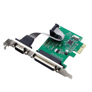 RS232 RS-232 Serial Port COM & DB25 Printer Parallel Port LPT to PCI-E PCI Express Card Adapter Converter WCH382L Chip