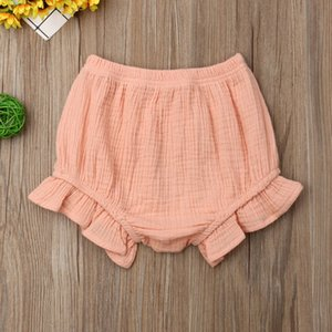 2019 Canis Summer Solid Infant Baby Girl Cotton Ruffle Shorts PP Pants Shorts Nappy Diaper Covers Bloomers Cute