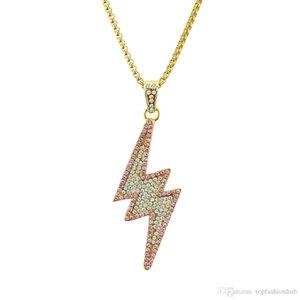 Hip Hop relámpago collar lleno del taladro colgante chapado en oro Collar pendiente de la aleación estilo de rap colgante, collar de alta calidad creativa