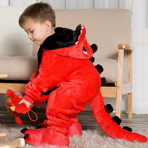 Children's pajamas cartoon new jumpsuit flannel dinosaur animal play suit long-sleeved hoodie warm cute funny one-piece pajamas Y200704