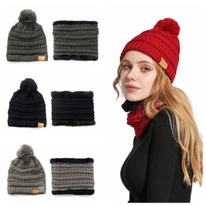 Moda entre padres e hijos de punto Beanie Hats Kids Winter Scarf Woman Pompon Knitted Party Cap Creative Hat Scarf Set TTA1731