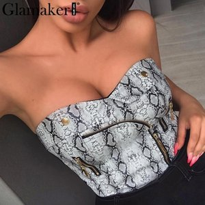 Glamaker Snake Print Maglia a portafoglio Top donna Sexy senza spalline Zipper Bodycon Estate Canotta Donna Estate Cami Backless Top Y19042801
