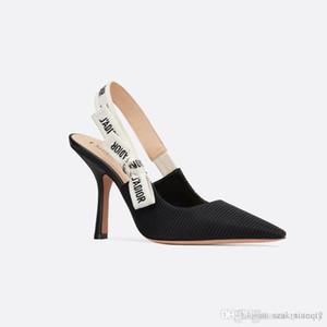 2019 yeni moda bayan sandalet Tasarım sandalet Tasarım topuk kumaş Deri malzeme Orijinal kutu boyutunu 35-42 Mesh