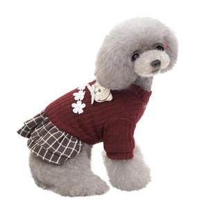 Новая мода Pet Элегантная юбка осень и зима Keep Warm Cat Собака Одежда плед юбка кошки и собаки одежды платье