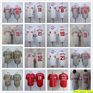 2019 Mens-Frauen-Jugend-Baseball Jersey nähte Joe Morgan 19 Joey Votto 21 Todd Frazier 32 Jay Bruce Jersey Kinder weiß grau