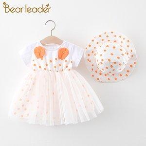 Şapka Dedikodu ile Kız Giydirme Dot Prenses Elbise için Bear Lider Çocuk Giyim Kız Bebek Giyim Yaz Partisi Giyim
